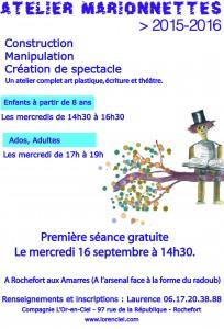 Affiche atelier marionnettes Rochefort 2 2015-2016